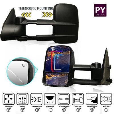 L+R For 99-02 Chevy Silverado GMC Sierra Power+Heated+LED Signal Tow View Mirror