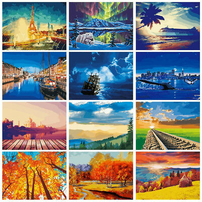 Diy Paint Scenery By Number Kit Acrylic Oil Painting On Linen Artwork Wall Decor