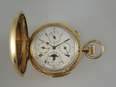 Large 18K Gold MINUTE Repeater Moonphase Calendar Chronograph Hunter c1908