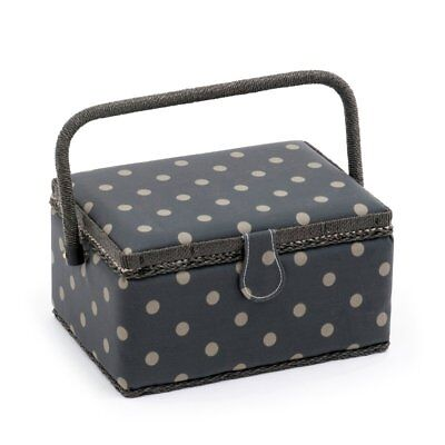 Charcoal Grey Polka Dot Medium Rectangular Sewing Box Basket Hobby Gift MRM/263