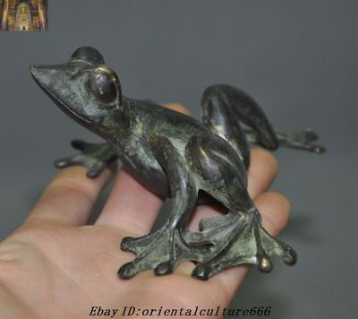 "4""Old Chinese Feng Shui Bronze Wealth Animal Figurines Toad Frog Bufo Statue"
