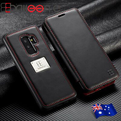 For Samsung Note9 S9 Plus Leather Removable Wallet Flip Magnetic Card Case Cover