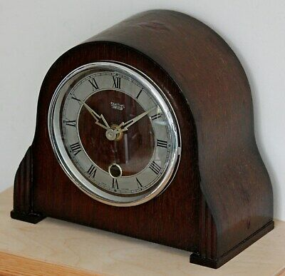 VINTAGE 29cm Smiths Enfield Mantel Clock - Retro Wooden Antique Desk Clock