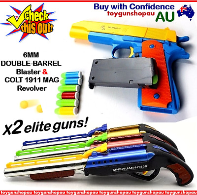 Au Double Barrel Shot Gun Kids Toy Pistol Kids Blaster Darts Police Gun Bundle