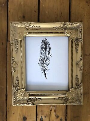 Vintage Antique Brass Gold Retro Frame Ornate Feather Photo Frame or for Mirror