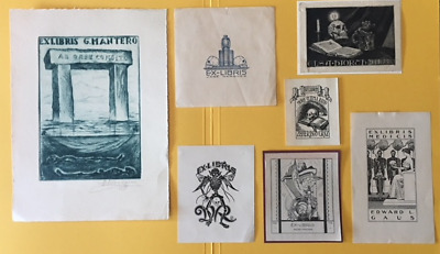 7 Antique and vintage SKULL ex libris bookplates   FREE SHIPPING US and EUROPE