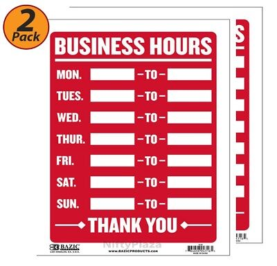 Pack of 2 - Business Hours sign Durable plastic, weatherproof 9 inch x 12 inch