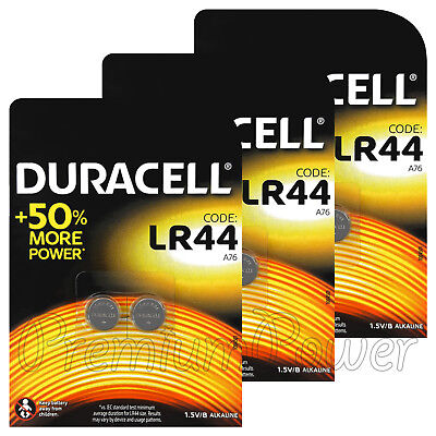 6 x Duracell Alkaline LR44 batteries 1.5V A76 AG13 L1154 Coin Cell Pack of 2