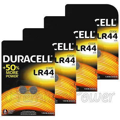 8 x Duracell Alkaline LR44 batteries 1.5V A76 AG13 L1154 Coin Cell Pack of 2