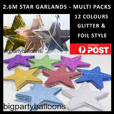 New Star Paper Hanging Garland String Bunting Party Glitter Foil - Rose Gold