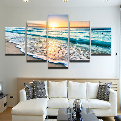Sea Wave View Painting Large Canvas Wall Art Huge Modern Ocean Decor 5 Piece