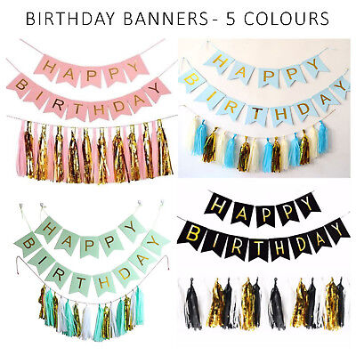 Happy Birthday Banner Flag Bunting Garland Party Decoration 13 Letters 6 Colours