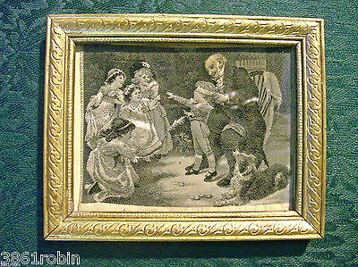 "Stevengraph Woven Silk Children Playing Blind Man's Bluff 3"" X 4"" Framed B/W"