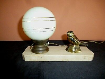 French Art Deco Spelter & Marble Blue Tit  Mood Lamp