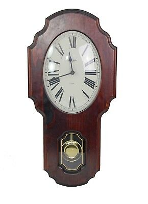 Verichron Cherry Wood OVAL School house Pendulum Wall Clock Chime Quartz USA