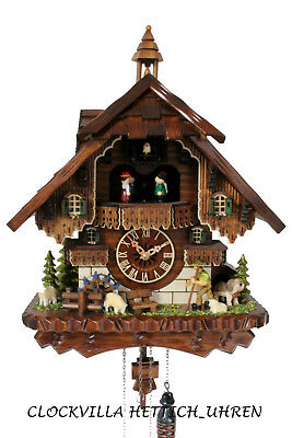 cuckoo clock black forest quartz german music quarz chalet farmer sheep new