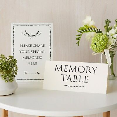 'Share Your Memories' & 'Memory Table' 2 Sign Set - For Funeral, Condolence Book