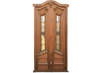 Antique Double Semi Arched Door With Iron #X1234c