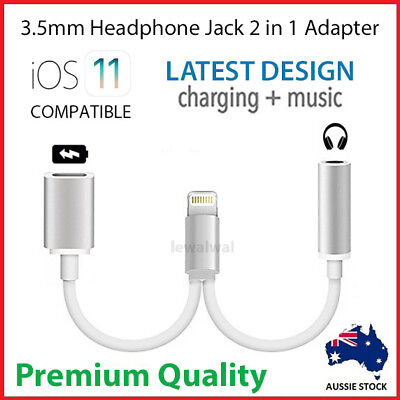 Dual Headphone Jack Earphone Adapter Charger Cable Splitter iPhone 7 8 3.5mm AUX