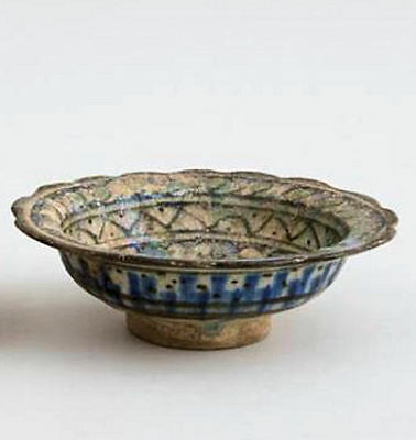 Ancient PERSIAN Ceramic FOOTED Bowl With Rabbit With iridescent patina