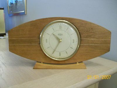 An Vintage Retro Wood Case Mantel Clock  Key Wind Working By Tempora