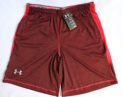 """Under Armour Mens Size XL Raid Printed 10"""" Active Shorts Red/Steel (603)"""