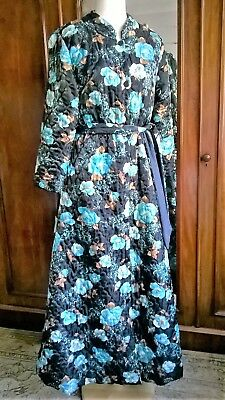 Vintage Czarina Nylon Dressing Gown Robe Black Floral Quilted Padded 16 - 18