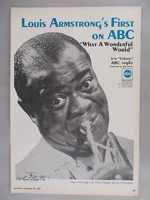 "Louis Armstrong PRINT AD - 1967 ~~ ""What A Wonderful World"""