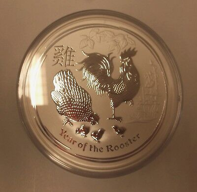 10 Oz Ounce 2017 Year Of The Rooster Silver Lunar Perth Mint Bullion Coin