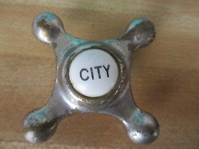 "Antique Crane kitchen faucet "" CITY "" Handle Victorian porcelain & chrome"