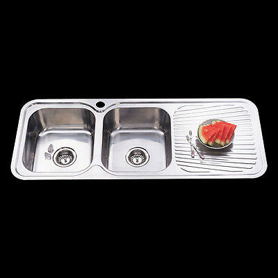 Drop In Topmount Stainless Steel Double Bowl with Drainer Kitchen Sink 1180x480