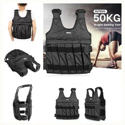 Adjustable Weighted Vest with SHOULDER PADS 50KG/110lbs Weight Options Jacket
