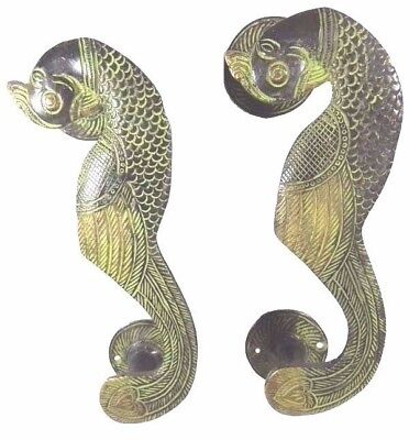 Peacock Design Antique Vintage Finish Handmade Brass Door Handle Pull Knob Decor