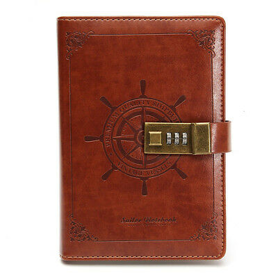 B6 Classic Retro NoteBook Brown Leather Journal Wired Diary W/Password Code Lock