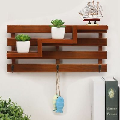 Solid Wood Wooden Wall Mounted Vintage Retro Rack 3 Hanger Hooks Floating S N6G6