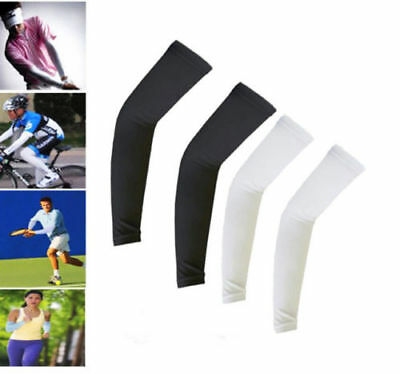 2 Pairs White & Black Cooling Arm Sleeves Cover UV Sun Protection Basketball US