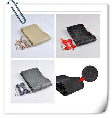 Universal PU Leather Car Steering Wheel Cover With Needles and Threads!