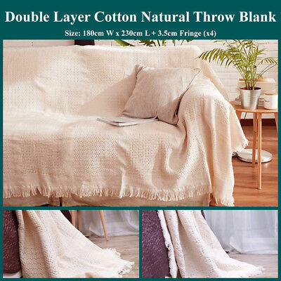 Natural Cotton Waffle Woven Textured Throw Blanket Reversible 2 Layer Rug Fringe