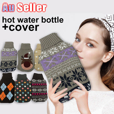 2.0 Litre 2L Hot Water Bottle Cover only Warmer Heat Soft Bag Large Grey knitted