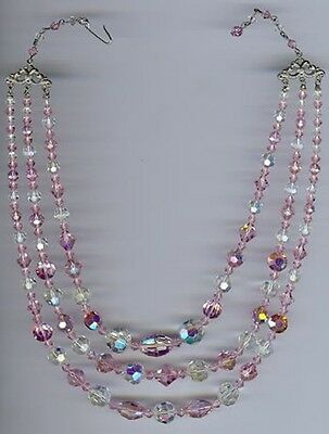 Pretty Vintage 1950's Three Strand Pink & Clear Crystal Necklace