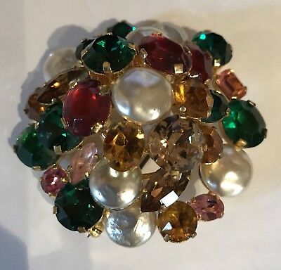 Vintage Multi Color Dimensional Red Green Yellow Rhinestone And Pearl Pin Brooch