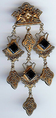 Vintage Victorian Revival Ornate Gold Tone Black Glass Dangle Pin Brooch
