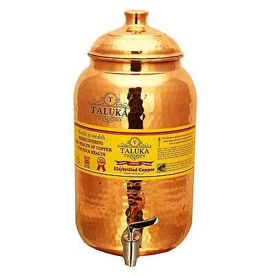 Copper Water Pot Pitcher Pot Tank With Tap Water Storage 10 Liter Kitchen Use