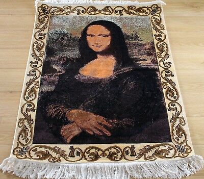 Antique Vintage Mona Lisa Persian Handmade Knotted Natural Silk Rug Carpet Italy