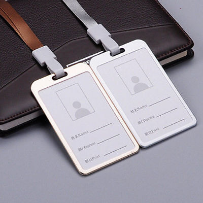 New Metal ID Badge Card Holder Business Security Pass Tag Holder with Lanyard