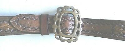 Brown Leather Casual Belt with Embossed Pattern - Seller Made