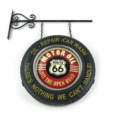 Route 66 Double Sided Light Up Hanging Tire Metal Sign VPAMTSIGN01 hot rod