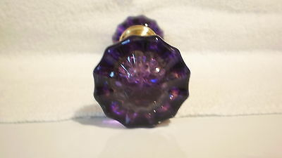Vintage Antique Glass Doorknobs Colored & Dyed Purple 1920's Solid Brass Hubs