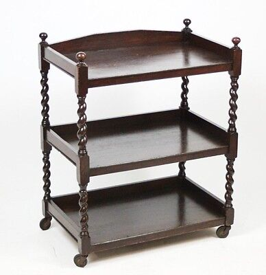Vintage Mahogany Barley Twist 3 tier Tea Serving Trolley - FREE Shipping [P4446]