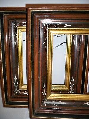 Pair Of Antique Wooden Deep Shadow Box Picture Frames Carved And Gilt